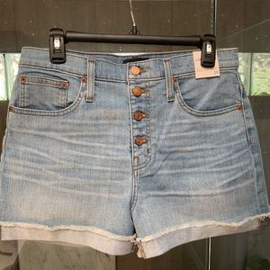 J.Crew High-rise denim short with button fly